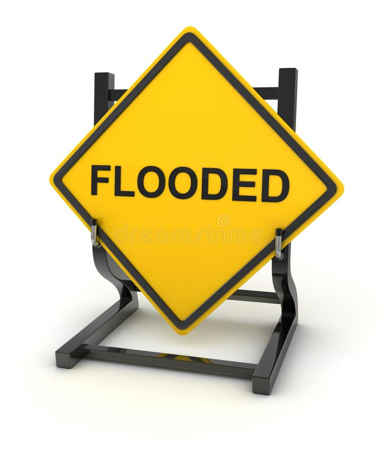 Road sign - flooded. This is a computer generated and 3d rendered picture royalty free illustration