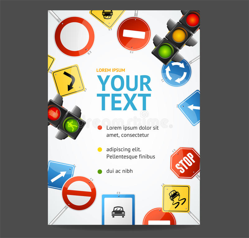 Road Sign Flyer Banner Posters Card. Vector. Road Sign Flyer Banner Posters Card Placard Template Space for Your Text or Information. Vector illustration stock illustration