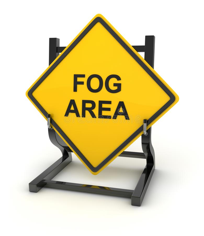 Road sign - fog area. This is a computer generated and 3d rendered picture stock illustration
