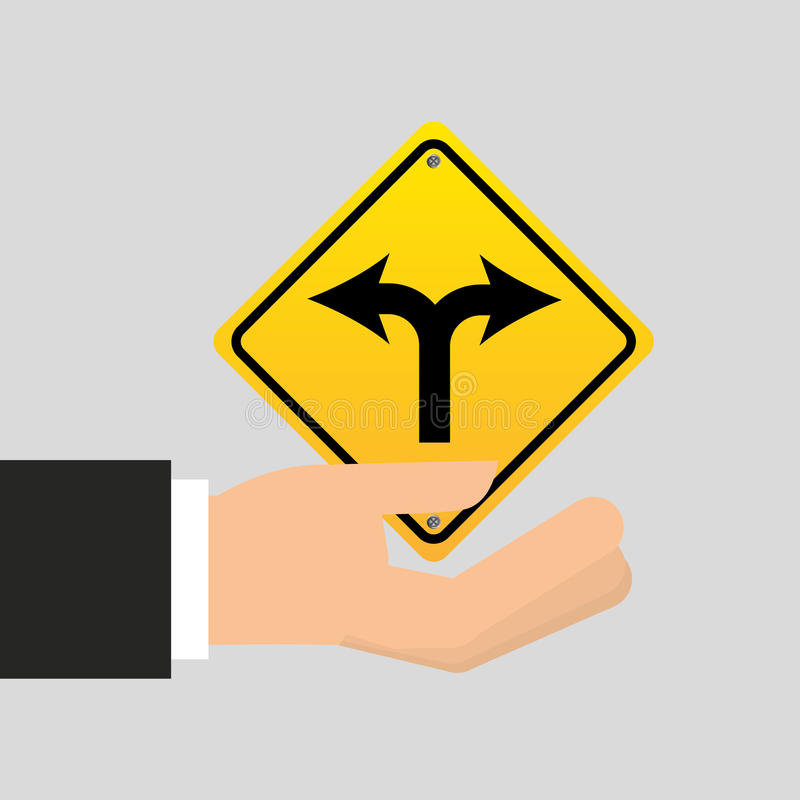 Road sign fork arrow icon stock illustration