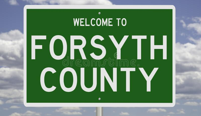 Road sign for Forsyth County. Rendering of a green 3d highway sign for Forsyth County stock photos