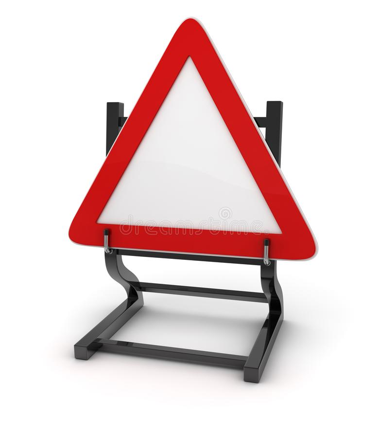 Road sign - Give way. This is a computer generated and 3d rendered picture royalty free illustration
