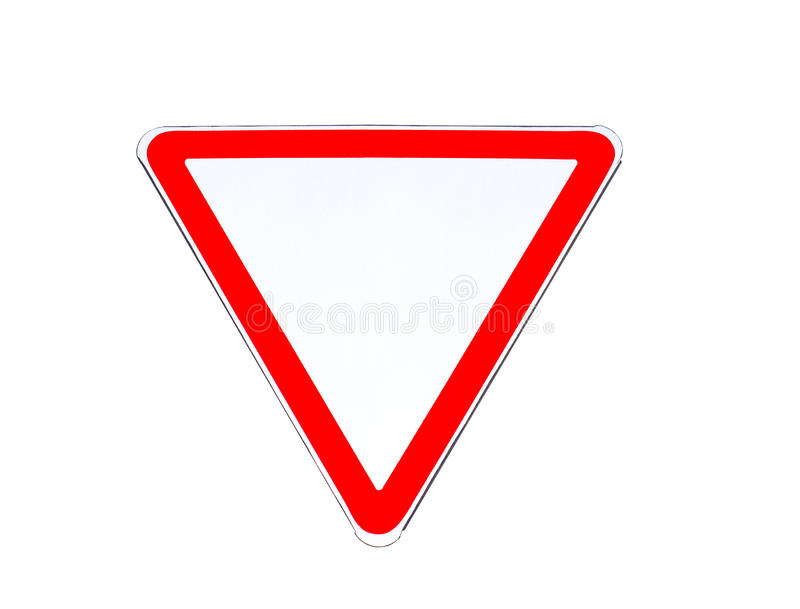 Road sign Give way isolated royalty free stock image