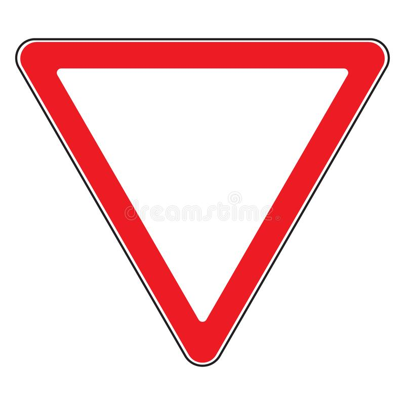 Give way sign. Road sign give way isolated. Design yield triangular icon. Priority of traffic sign. Blank triangular road sign. Road symbol design on white vector illustration