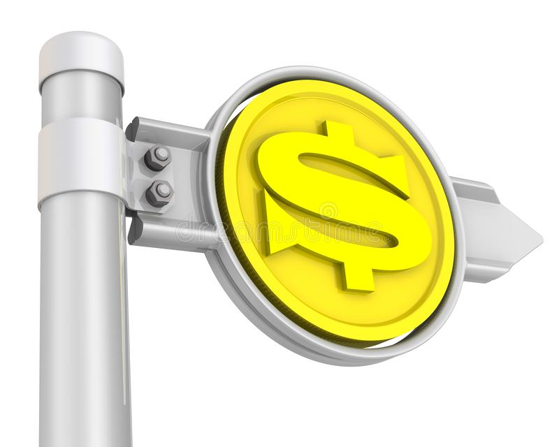Road sign with the US dollar coin vector illustration