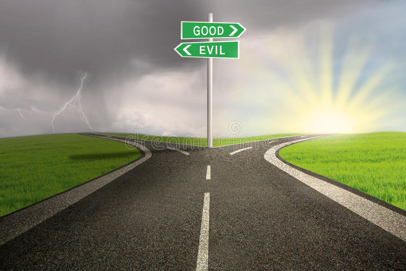 Road sign of good vs evil stock illustration