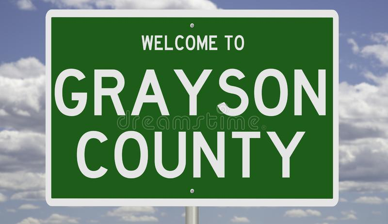 Road sign for Grayson County. Rendering of a green 3d highway sign for Grayson County royalty free stock photography