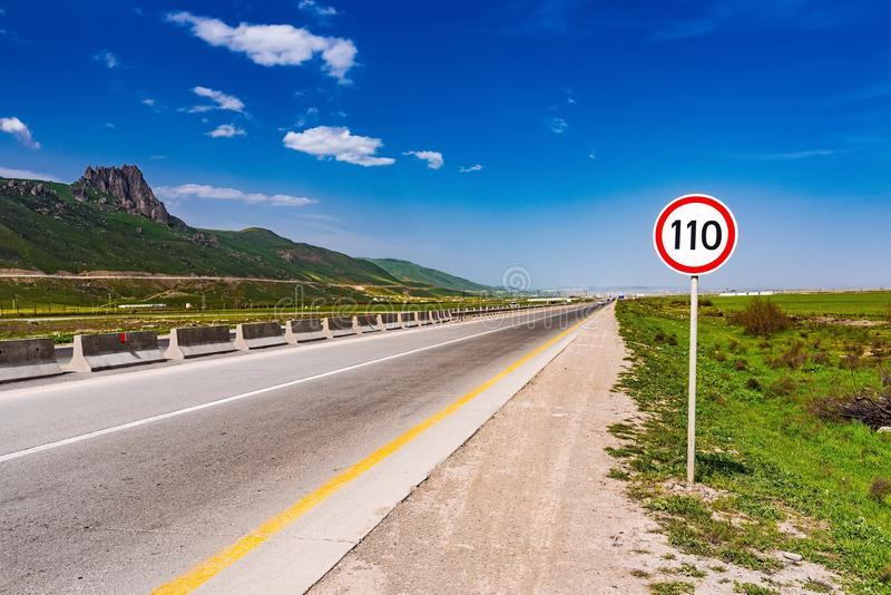 Road sign for speed limit royalty free stock images