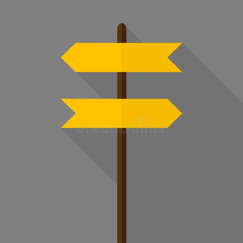 Fun Road sign icon. Flat design. Road sign icon. Flat design street signpost board guide traffic empty information blank direction isolated vector travel way royalty free illustration