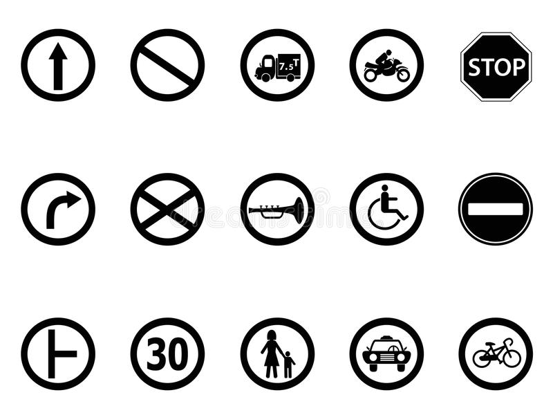 Road sign icons set. Isolated road sign icons set from white background royalty free illustration