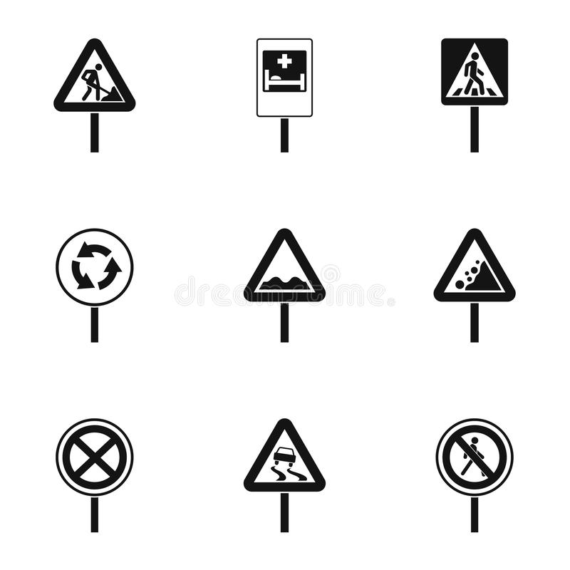 Road sign icons set, simple style. Road sign icons set. Simple illustration of 9 road sign vector icons for web stock illustration
