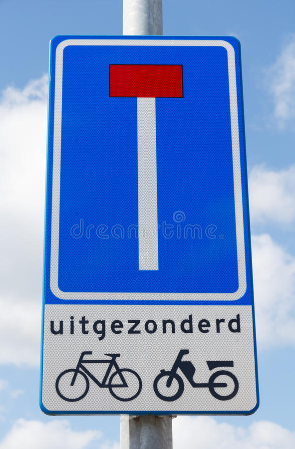 Download Road Sign Indicating Dead End Except For Cyclists Stock Image - Image: 31083143
