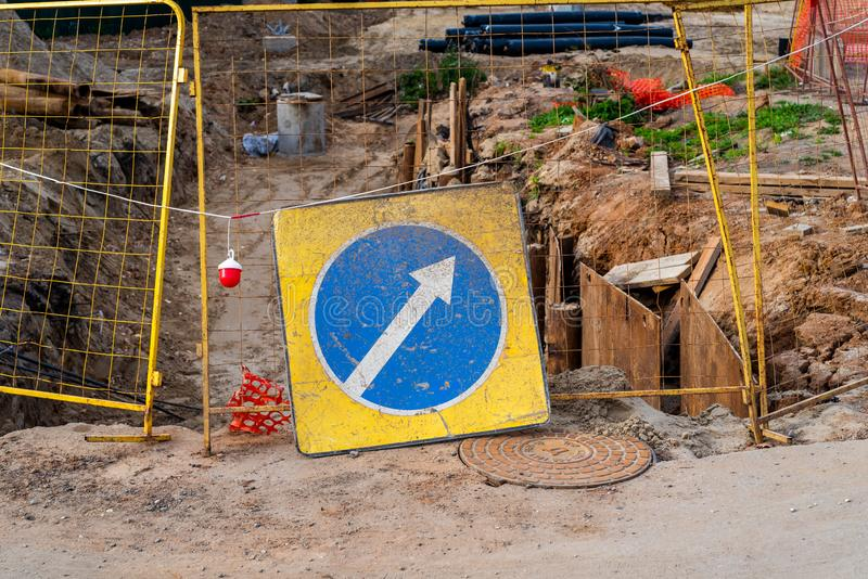 Road sign indicating a detour. Repair work on the road. Construction royalty free stock images