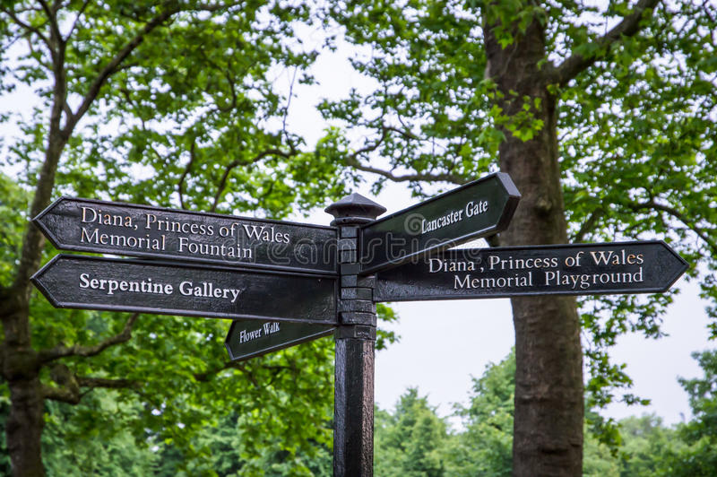 road sign indicating the direction for memorial fountain and memorial playground of Diana, Princess of Wales stock image