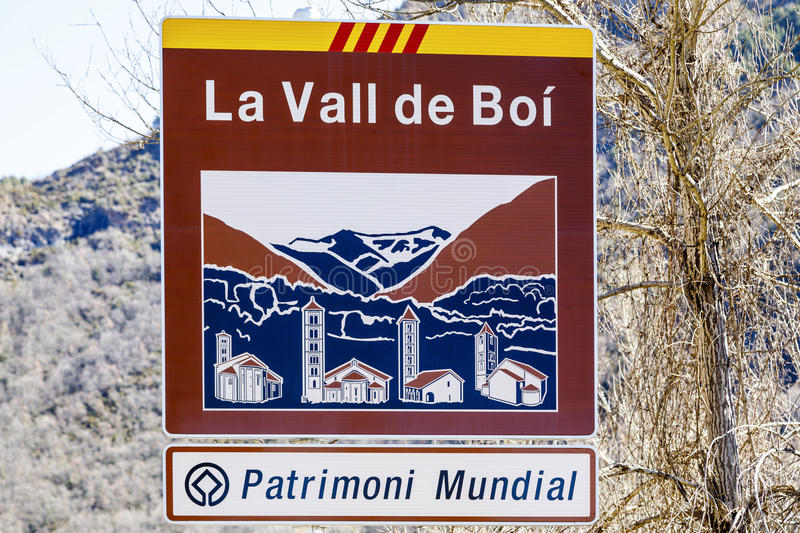 Road sign indicating the entrance to the Vall de Boi, Declared Heritage of humility royalty free stock photography