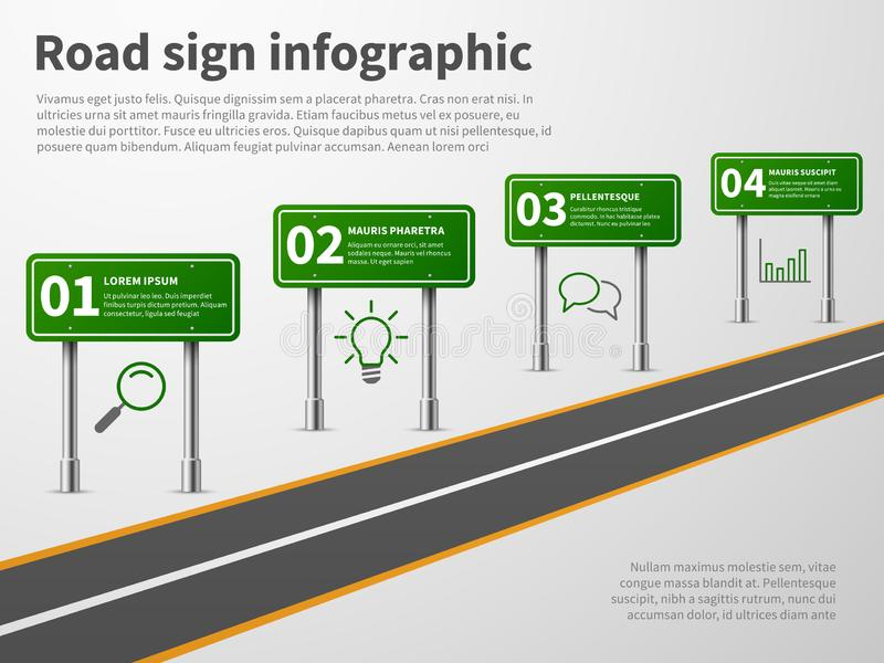 Road sign infographic. Banner traffic street route path, blank direction highways asphalt trip map gps car curved way. Vector concept royalty free illustration