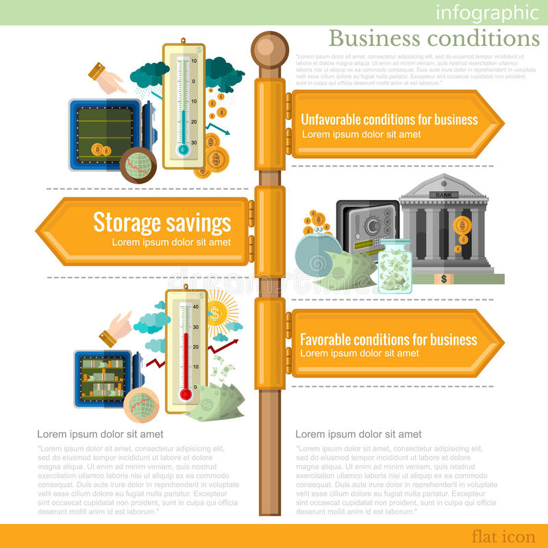 Road sign infographic with different types of business stock illustration