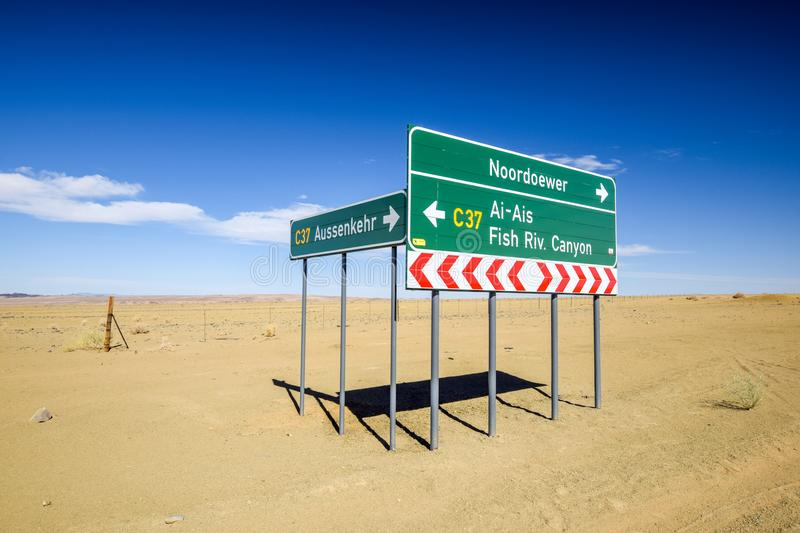 Road sign at the intersection between the C37 and D31 roads between the towns Noordoewer, Ai-Ais Fish River Canyon and Aussenkehr stock photos