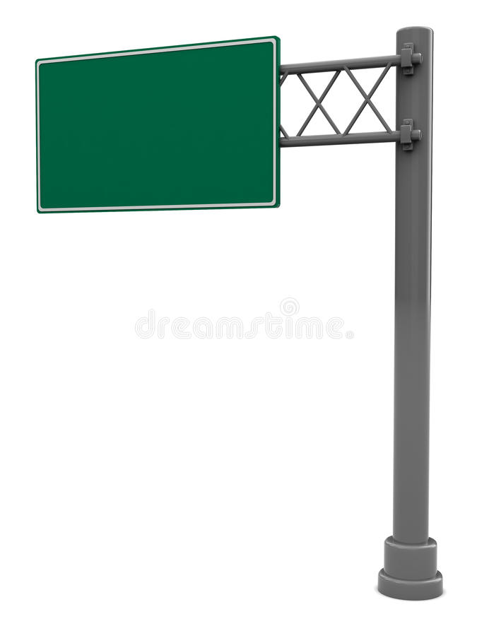 Road sign isolated. 3d illustration of empty road sign isolated over white background vector illustration