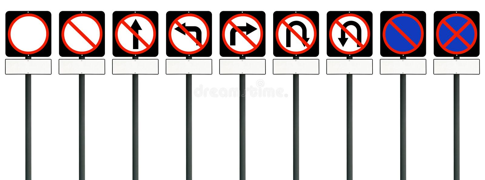 Road sign isolated with empty on white background with clipping path. Set of blank billboard black traffic signs is prohibited for stock images