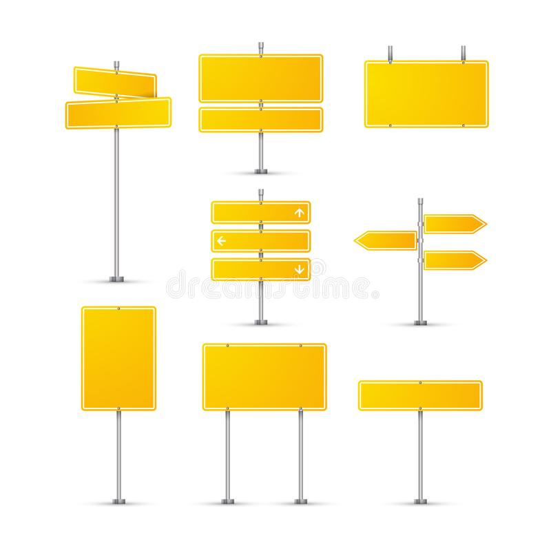 Road sign isolated on transparent. Highway traffic yellow signs. Transportation board frame royalty free illustration