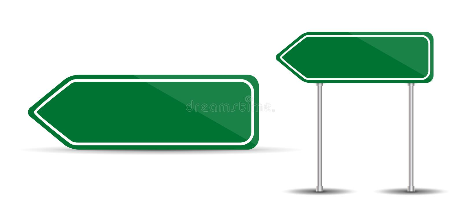 Road Sign Isolated on White Background Blank green arrow traffic. Vector Illustration. stock illustration