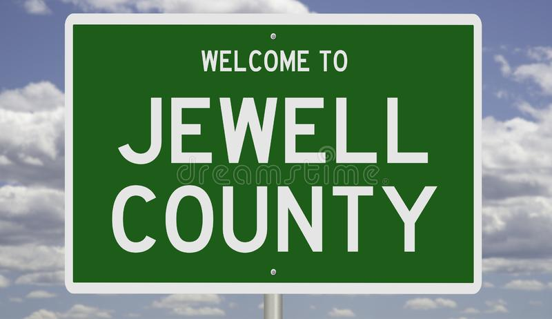 Road sign for Jewell County. Rendering of a green 3d highway sign for Jewell County stock photography