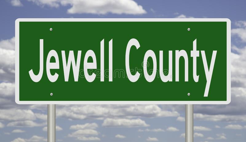Road sign for Jewell County. Rendering of a green 3d highway sign for Jewell County royalty free stock images