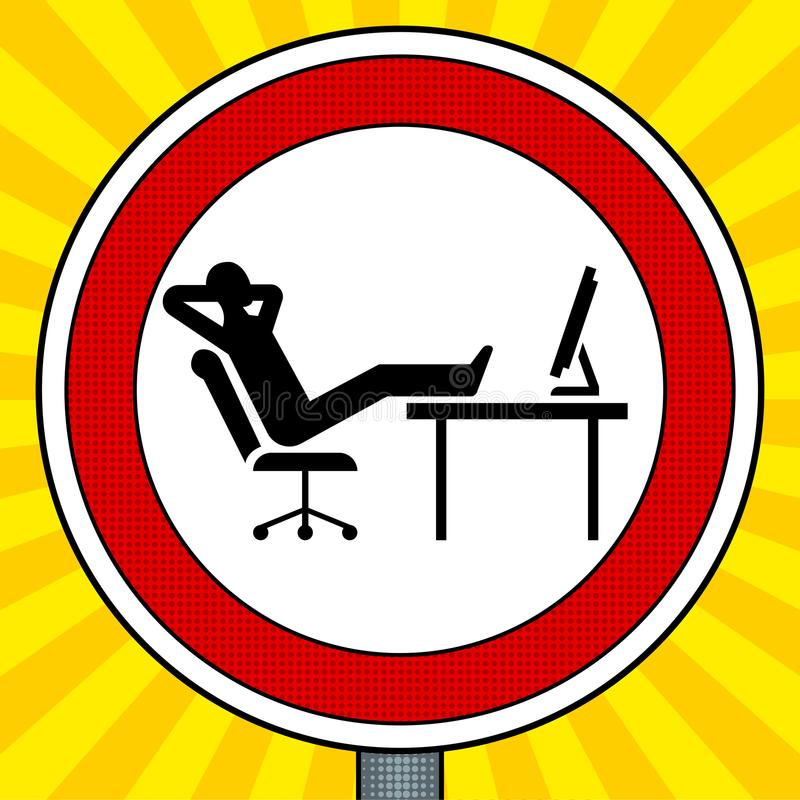 Road sign lazy people pop art vector. Road sign lazy people pop art retro vector illustration. Comic book style imitation royalty free illustration