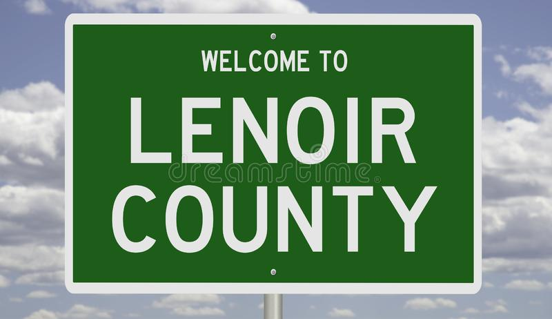 Road sign for Lenoir County. Rendering of a green 3d highway sign for Lenoir County stock photos