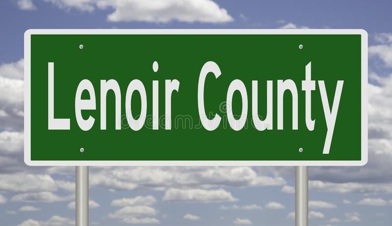 Road sign for Lenoir County. Rendering of a green 3d highway sign for Lenoir County royalty free stock images