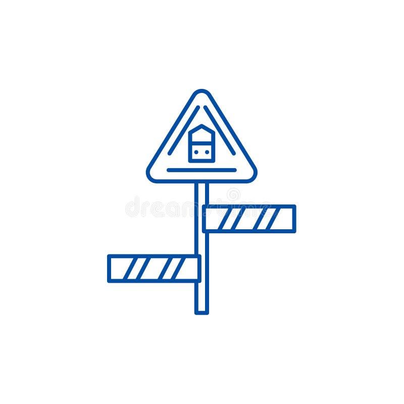 Road sign line icon concept. Road sign flat  vector symbol, sign, outline illustration. stock illustration