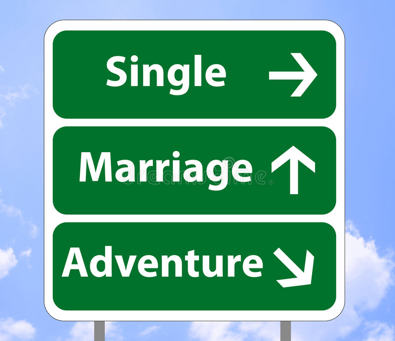 Road sign of love. Illustration of a road sign with imaginary love destination, single life, marriage and simpl adventures, on a sky background (additional vector illustration