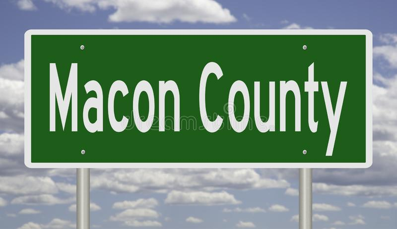 Road sign for Macon County. Rendering of a green 3d highway sign for Macon County royalty free stock photo