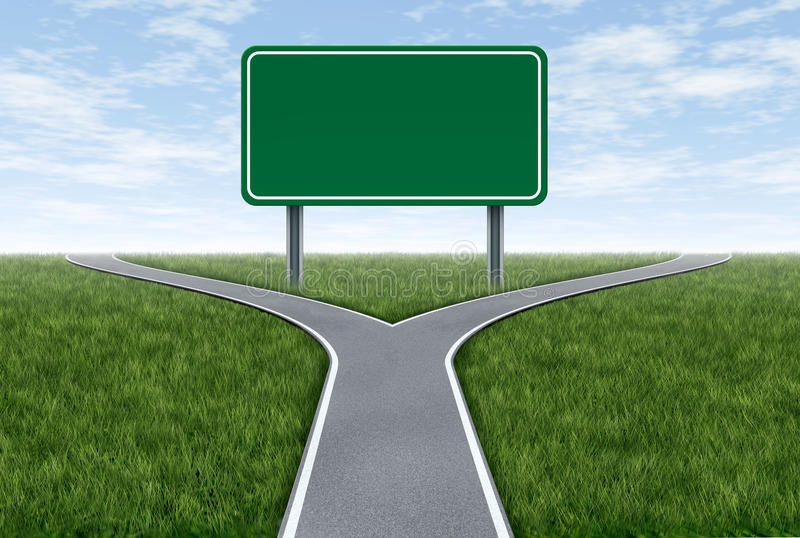Road sign metaphor. Blank highway and road sign metaphor with fork shaped traffic lanes showing the concept of dilemma and selecting the right option vector illustration