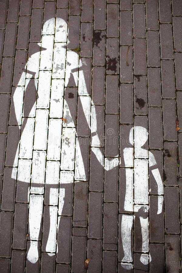 Road sign mother and a child stock photo