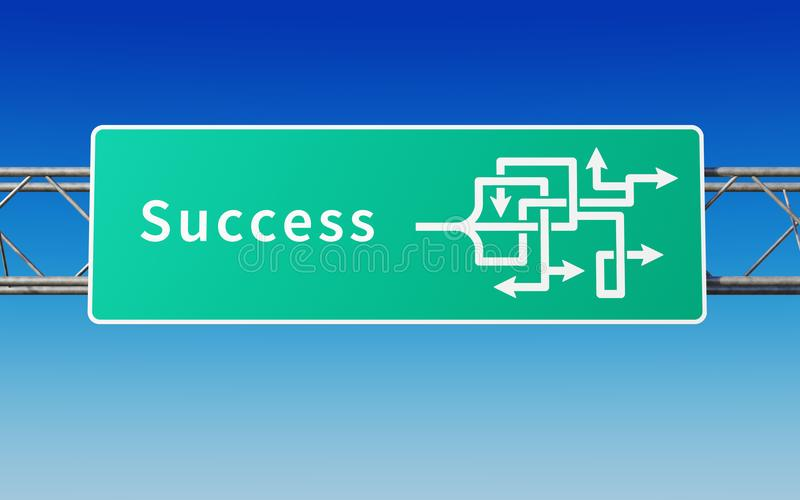 Road sign with multiple paths to success vector illustration