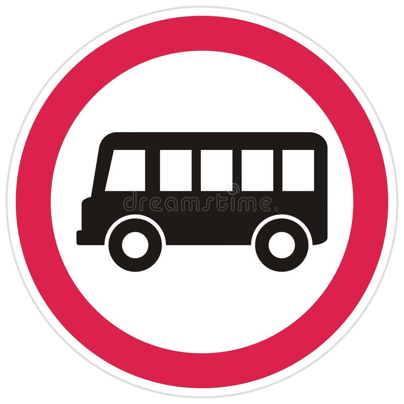 Road sign, no busses eps. Ban, busses, road sign, vector icon. Black bus at red round with gray contour on white background. No entry for bus royalty free illustration