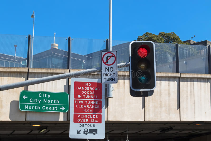 Road sign : No dangerous goods in tunnel, low tunnel clearance i royalty free stock images