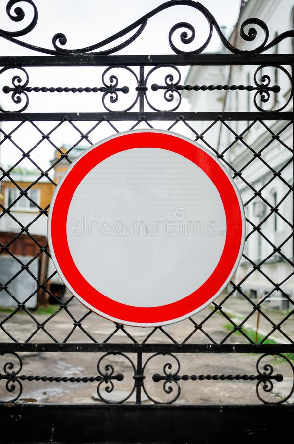Road sign No Entry on the iron gate stock photo