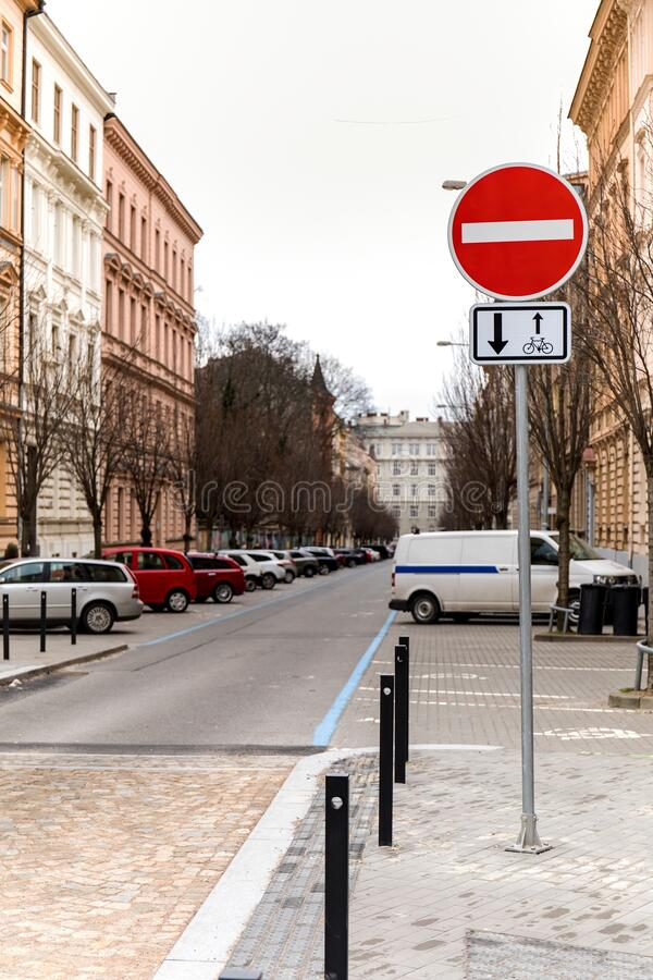 Road sign no entry one-way street in the city of Brno in Czech Republic. Traffic signs. City street royalty free stock images