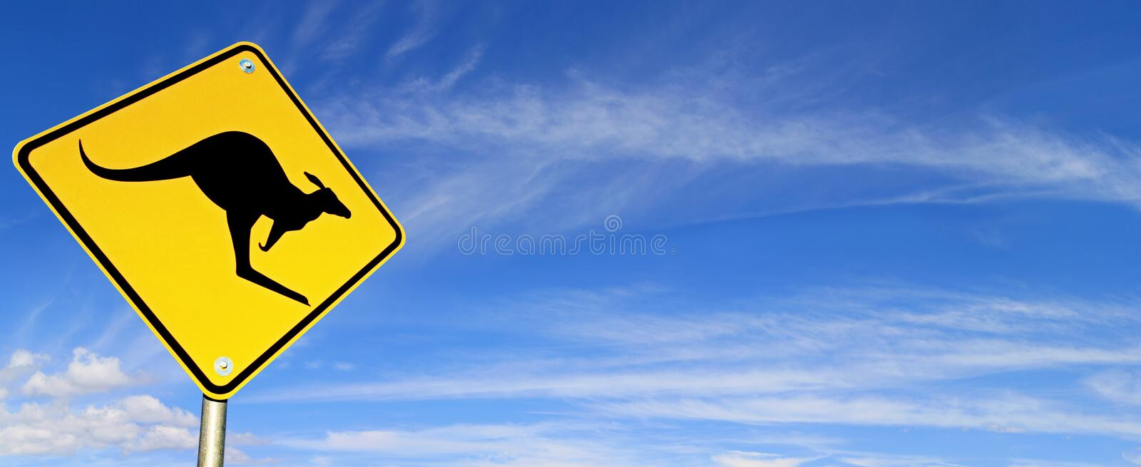 Road Sign over Sky Panorama stock image