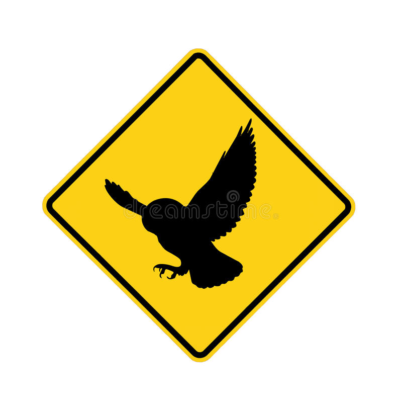 Road sign - owl. Black on yellow vector illustration