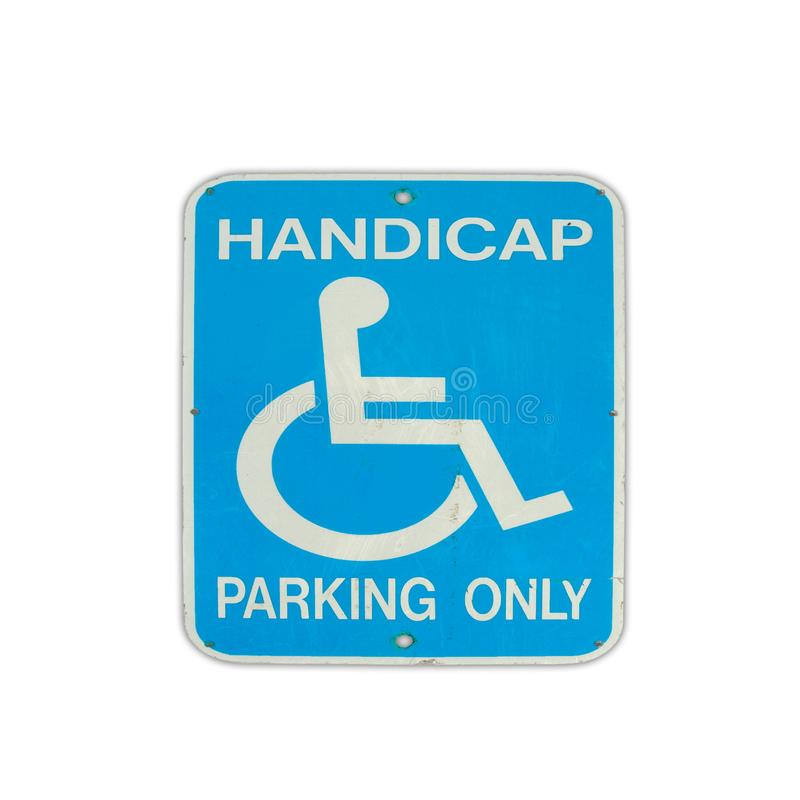 Road sign parking for disabled stock photography