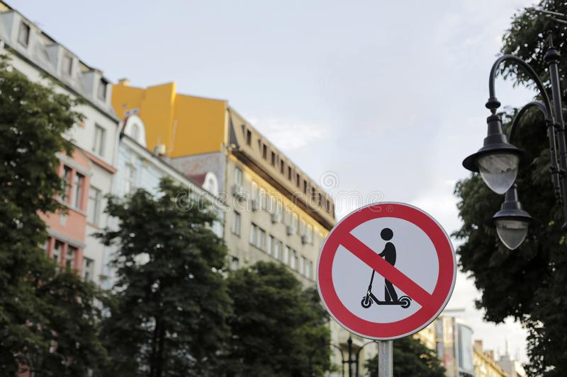 Road sign prohibiting electric scooter stock photography