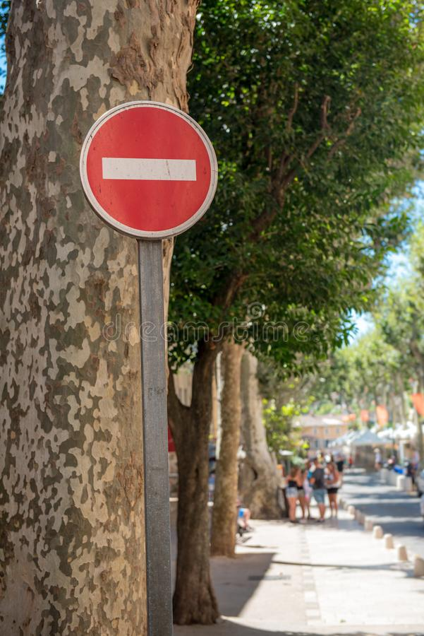 Road sign prohibiting. In a french city stock photos