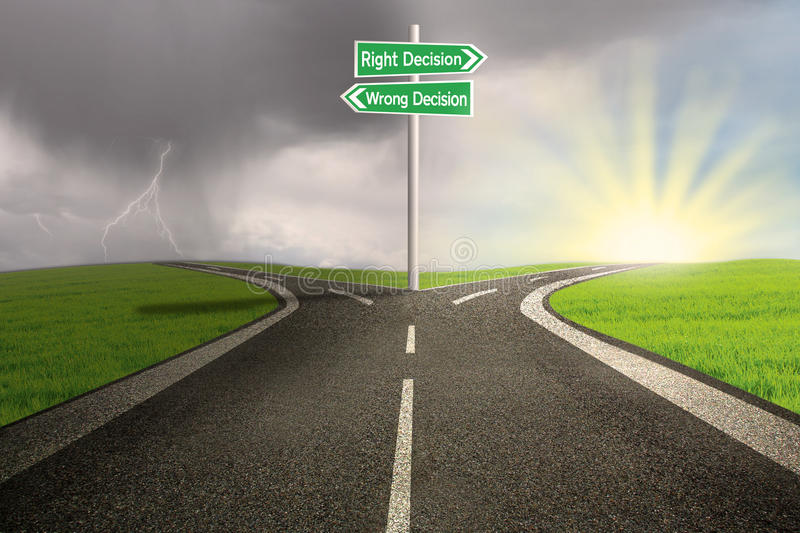 Road sign of right vs wrong decision. Green road sign of right vs wrong decision on highway with thunder storm background royalty free illustration