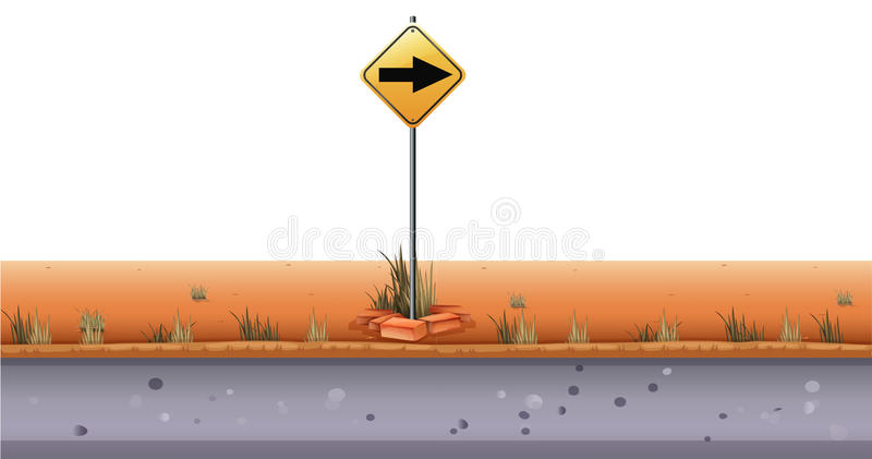 Road sign by the road. Illustration stock illustration