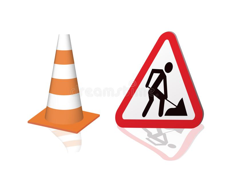 Road sign road repair and safety cones. royalty free illustration