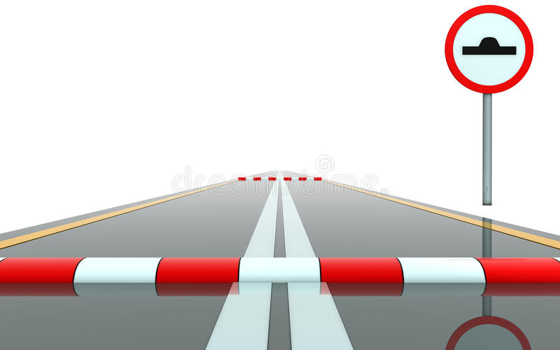 Road with sign and roadblock. Segment of road with sign and roadblock vector illustration